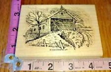 COVERED BRIDGE & PHEASANT,stampin up co,COUNTRY SCENE,wood mount,rubber stamp