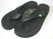Sanuk Women's Black White Plaid Yoga Mat Flip Flop Sandal Size 7 NEW