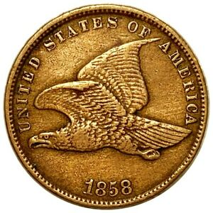 1858 Flying Eagle Cent, Stunning Features 1c Copper Must Have Penny No Reserve!
