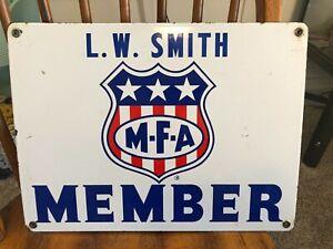 Vintage Original MFA Gasoline Member Porcelain Sign No Reserve