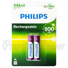 2 x Philips Rechargeable AAA 800 mAh batteries NiMh HR03 1.2V Micro Dect phone