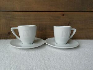 Nespresso The Espresso Cup w Round Saucers Porcelain Portugal Logo Embossed N