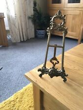 """Vintage Brass Photo Frame Stand, Easel. 9"""" Tall."""