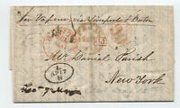 1844 Boston MA stampless letter Paris to New York 39 1/2 rate handstamp [45.103]
