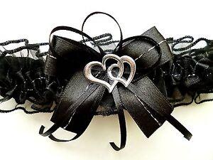 Strumpfband Braut schwarz mit Schleife Herzchen Silbernaht Gothic Neu EU