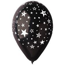 """10 Ballons Mariage Noir """" Étoiles Blanches """" Diam 30 cm"""