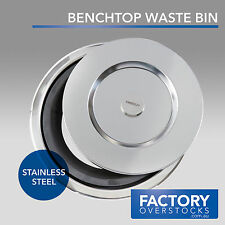 Kitchen Benchtop Waste Rubbish Bin Stainless Steel Concealed Bench Hole-in-One