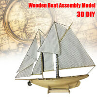 Wooden Ship Model Kit 1:87 Scale Classics Sail Boat DIY Toys Christmas Gift
