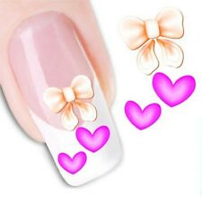 Nail Art Sticker Water Decals Transfer Hearts Bows Bunnies (DX1259)