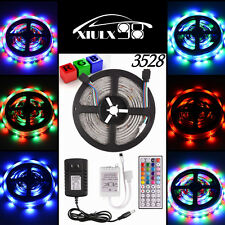 RGB 5M 3528 SMD Flexible Car Boat Garden LED Strip Light 12V 2A Power Waterproof
