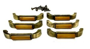 "Antique Art Deco Amber Bakelite & Brass Drawer Pulls 4-1/4"" Set of 6"
