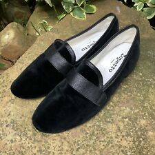 Repetto Michael Black Velvet & Leather Low Heel Loafers Shoes Size 7 UK, 41 FR