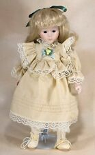 Collector's Porcelain Girl Doll Blond Hair Blue Eyes 11""