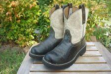 Womens 6.5 B M Ariat FatBaby Black Croc Print & Ivory Western Cowboy Boots 14712