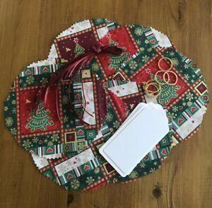 Fabric CHRISTMAS JAM PRESERVE pot lid covers labels bands ties festive design