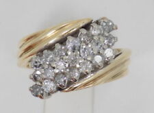 Huge 3.00 Ctw 14k Solid Yellow Gold FN Diamond Cluster Waterfall Cocktail Ring