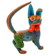 BLACK DOG Oaxacan Alebrije Wood Carving Mexican Art Animal Sculpture Painting