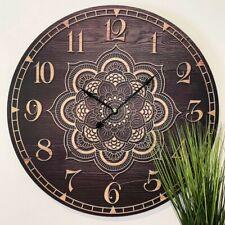 Timber mandala wall clock 58cm in diameter