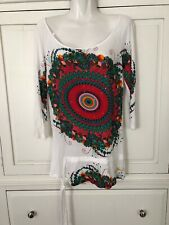 DESIGUAL White Multi Color Tunic Shirt Top Medium 3/4 Sleeves