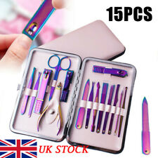 15 Professional Manicure Set Rainbow Nail Clippers Kit Pedicure Care Trim Tool