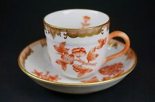 Herend Fortuna Queen Victoria Rust Demitasse Cup and Saucer