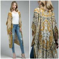 Mustard Boho Mandala Kimono Wrap Womens One Size