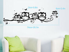 Black Cartoon 5 Owl Butterfly Wall Sticker Decor Kids Nursery Room Home Decal
