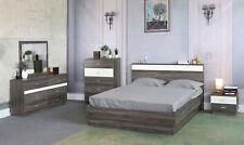 Queen 4pc Bedroom Set Platform Bed Headboard Dresser Nightstand Mirror Furniture