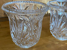 """Pair of Heavy Cut Glass Shade Vanity Light Globe Clear Leaf Etched Bell 5.5""""X 5"""""""