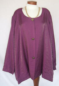 SHIMMERY 3 Button Jacket Dressy Occasion Sz 4X WINE Fully Lined Career Travel