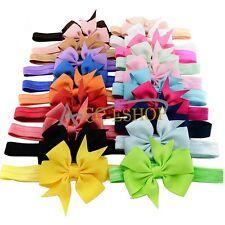 20PCS Baby Toddler Girl grosgrain ribbon hair bow FOR Elastic headband hairband