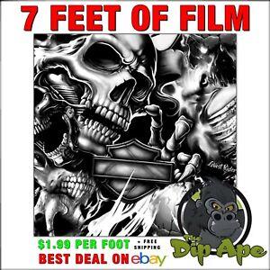 HYDROGRAPHIC FILM Skulls ghost rider Harley  7 feet hydro dipping  DIP APE