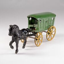 Antique green ice wagon black horse cast iron horse drawn ID#419
