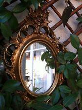 Miroir baroque bois peint cérusé doré
