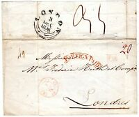 # 1838 PARIS FRANCE WRAPPER TO FREDr HUTH LONDON FINE RED FRAMED FOREIGN PAID