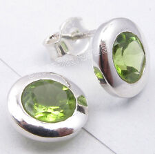 .925 Sterling Silver GREEN PERIDOT TRADITIONAL Setting Studs Earrings 3/8""