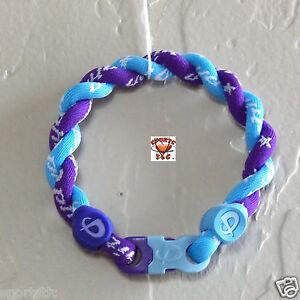 Phiten Tornado Bracelet Custom - Carolina Blue with Purple