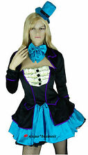 Ladies Alice in Wonderland Mad Hatter Fancy Dress Costume - M / 10-12-14