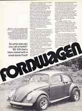 1963 VOLKSWAGEN BEETLE W/ FORD 289 ~ 3-PG ARTICLE / AD