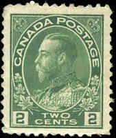 Mint NH 1923 Canada F-VF Scott #107e 2c King George V Admiral Stamp