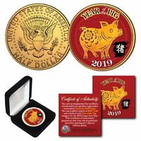 2019 Lunar New YEAR OF THE PIG 24K Gold Plated JFK Half Dollar US Coin with BOX