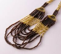 Gold and Brown Seed Bead Hand Woven Beaded Multi Strand Boho Bib Necklace