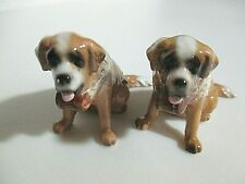 St. Bernard Dog Figurines - A Pair - Maybe Twin Brothers, Not Identical :)
