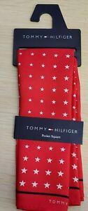 """💪 Star Red Silk Pocket Square13.5""""x13.5🌊 Designer Macy's Tommy Hilfiger Men's"""