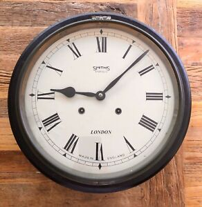 Vintage Antique Black Wall Clock - early 20th Century Smiths Enfield London