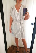 H&M White & Black Stripe Summer Belted Dress size UK 12 40 V-neck Beach Holiday