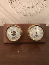 Vintage Benchmark 1986 Wooden Tabletop Desk Barometer And Thermometer