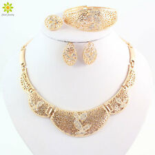 Gold Plated African Necklace Set Earrings For Women Party Wedding Jewelry Sets