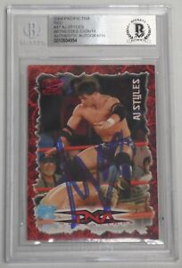 AJ Styles Signed 2004 Pacific TNA Red Rookie Card #47 BAS COA RC WWE Autograph
