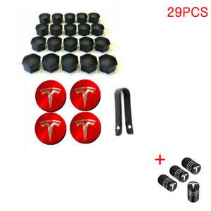 Tesla Model 3 S X Y Car Wheel Center Hub Cap Cover Lug Nut Covers Kit 29PCS Red